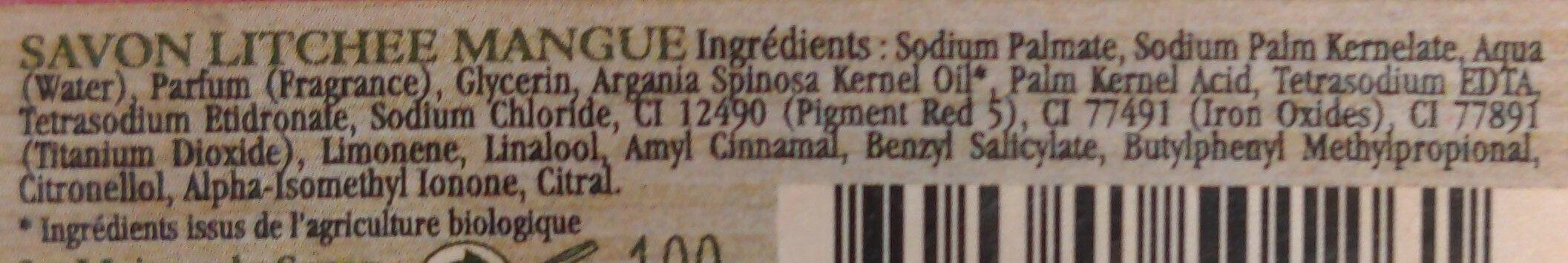 Savon Litchee-Mangue - Ingredients - fr