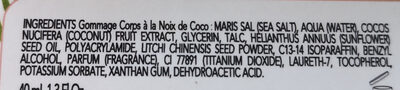 Gommage corps à la noix de Coco - Ingrédients