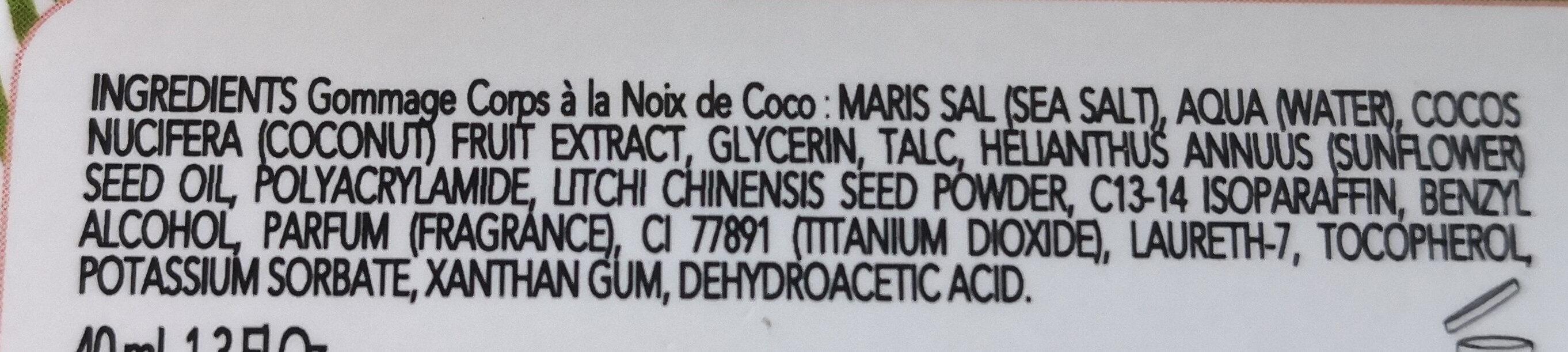 Gommage corps à la noix de Coco - Ingredients - fr