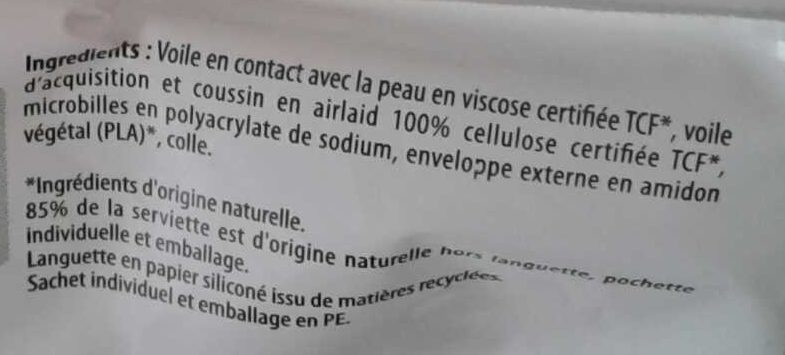 Serviettes hypoallergéniques anti-irritation Normal - Ingredients - fr