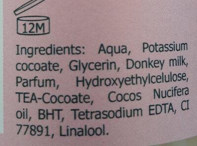 Savon douche au lait d'anesse bio - Ingredients