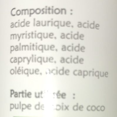Huile Vierge Bio de Coco - Ingredients