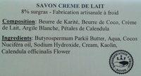 Crème de lait aux pétales de Calendula - Ingredients
