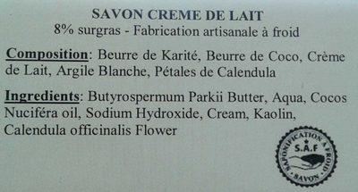 Crème de lait aux pétales de Calendula - Ingrédients