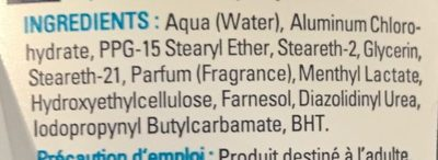 Aqua Activ' 24H - Ingredients - fr