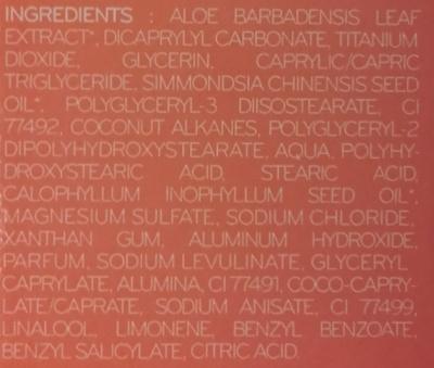 Crème teintée très haute protection SPF 50+ - Ingrédients