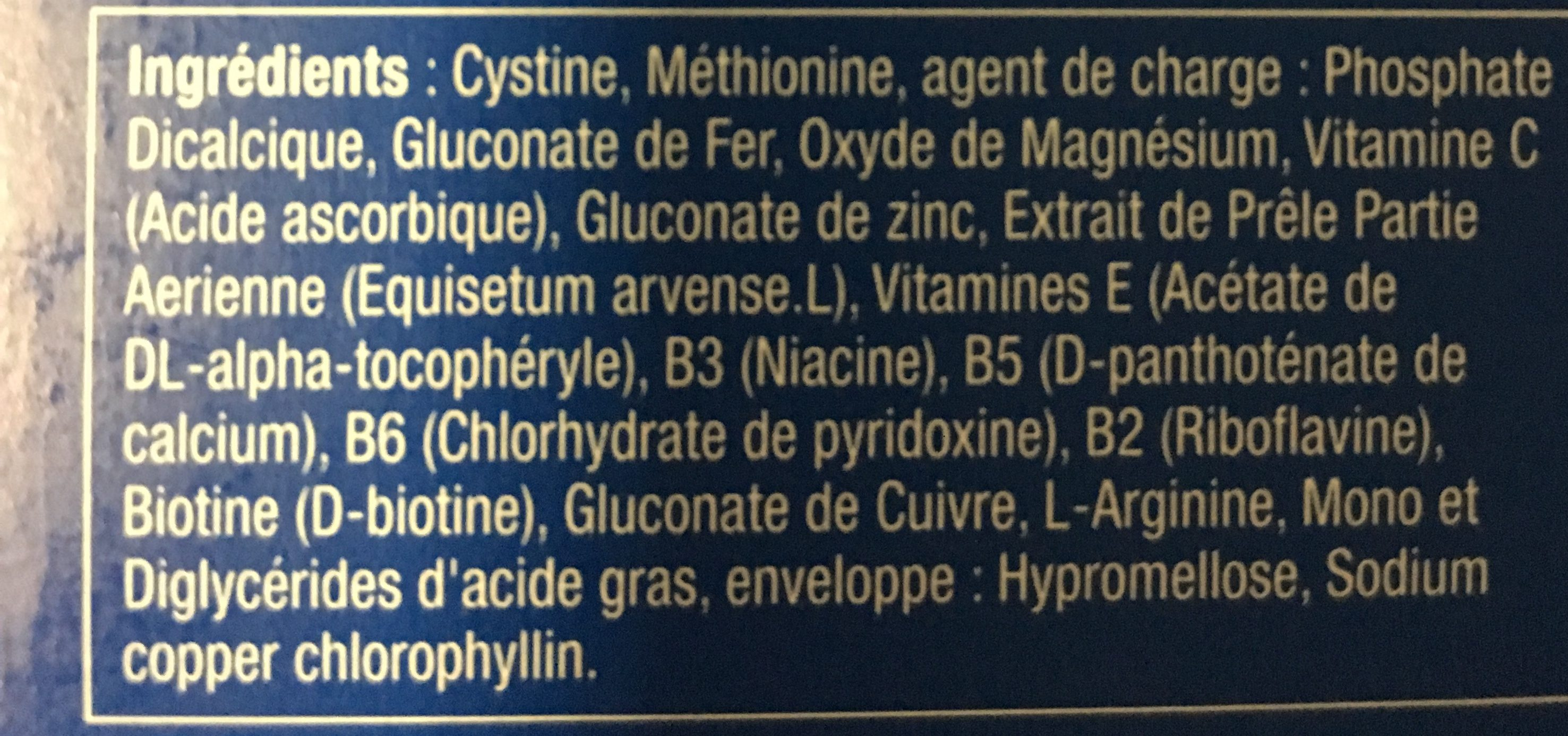 Novophane Ongles Et Cheveux - Ingredients