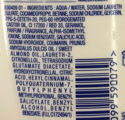 Gel douche sans savon Huile d'amandes douces bio - Ingrédients