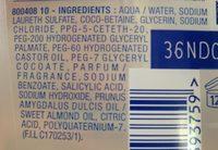 Gel corps et cheveux hypoallergénique - Ingredients