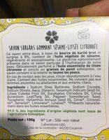 Savon surgras gommant sésame-Litsée - Ingredients - en