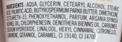 Huile Précieuse Crème Mains Hydratante Huile d'Argan & d'Onagre - Ingrédients
