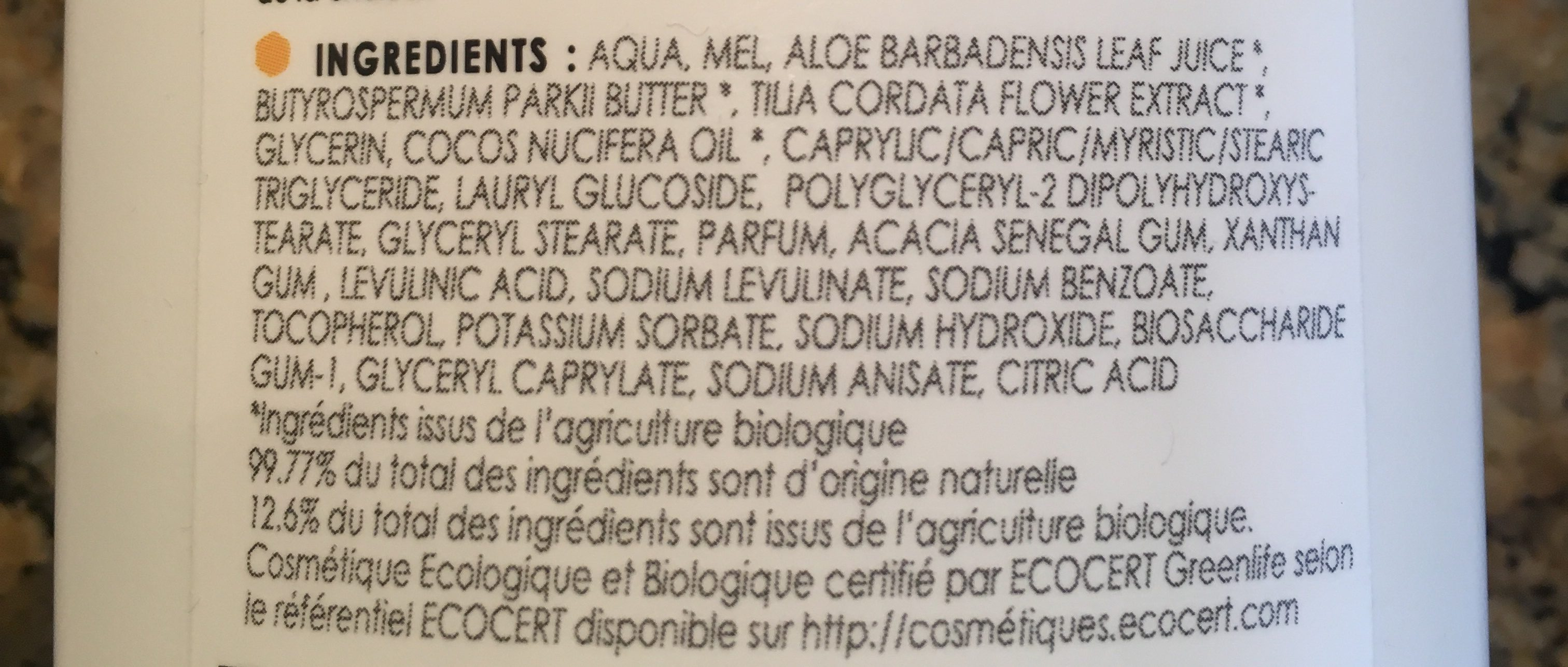 Lait Hydratant Bébé Miel De Manuka - 200 ML - Comptoirs & Compagnies - Ingredients