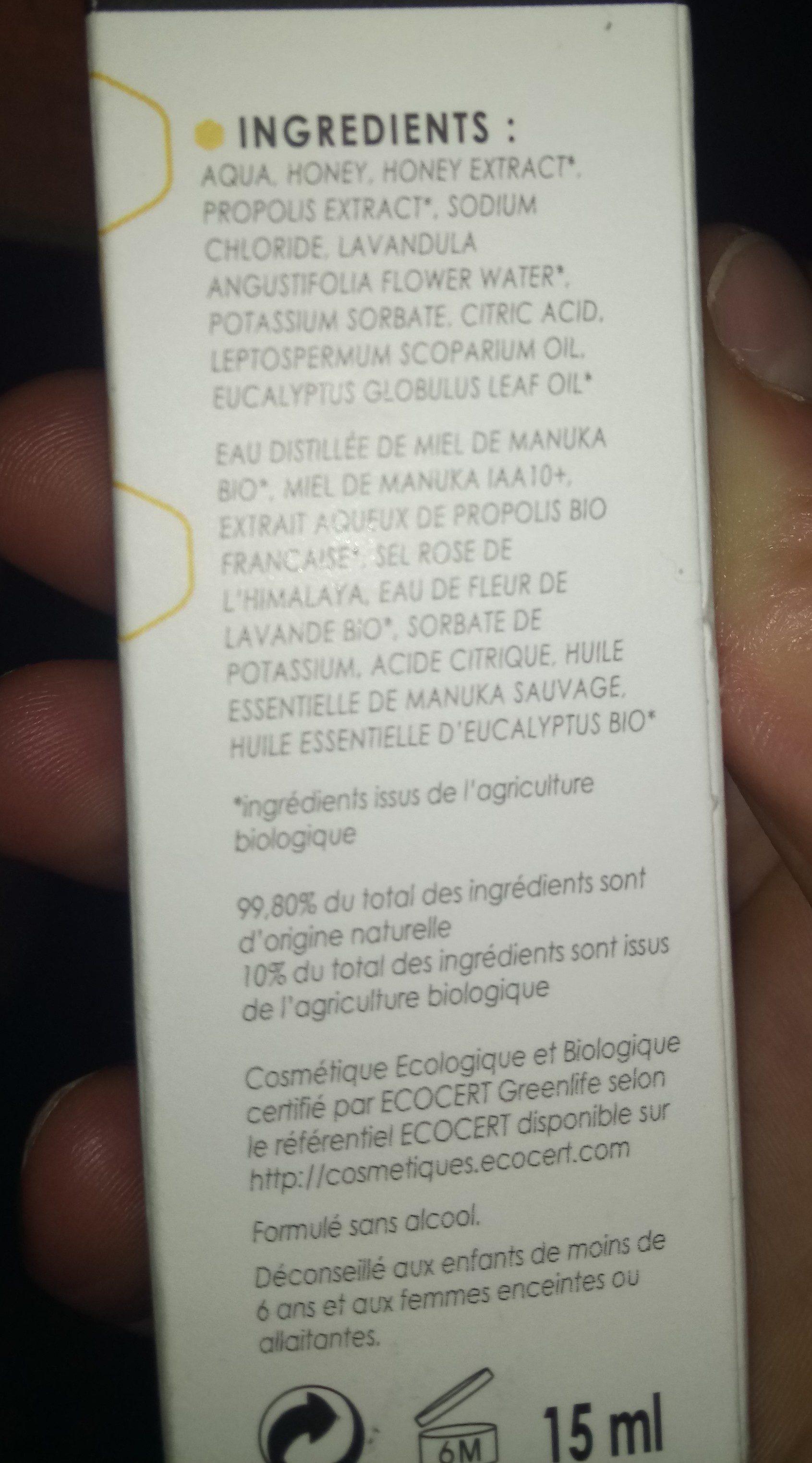 Spray Nez Et Sinus Miel De Manuka 10+, 15 ML - Comptoirs & Compagnies - Ingredients