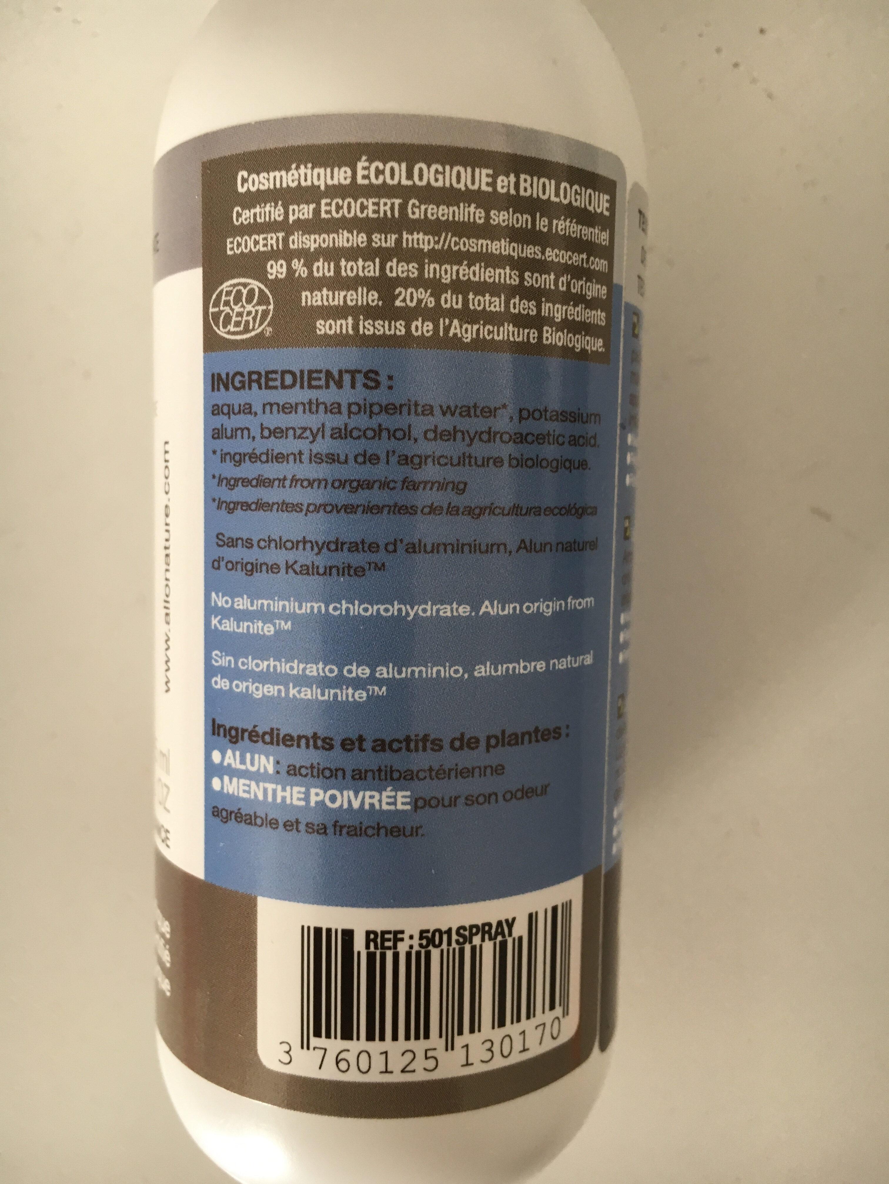Déo Spray à la Pierre d'alun - Ingrédients