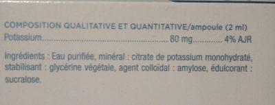 granions de potassium - Ingredients - fr