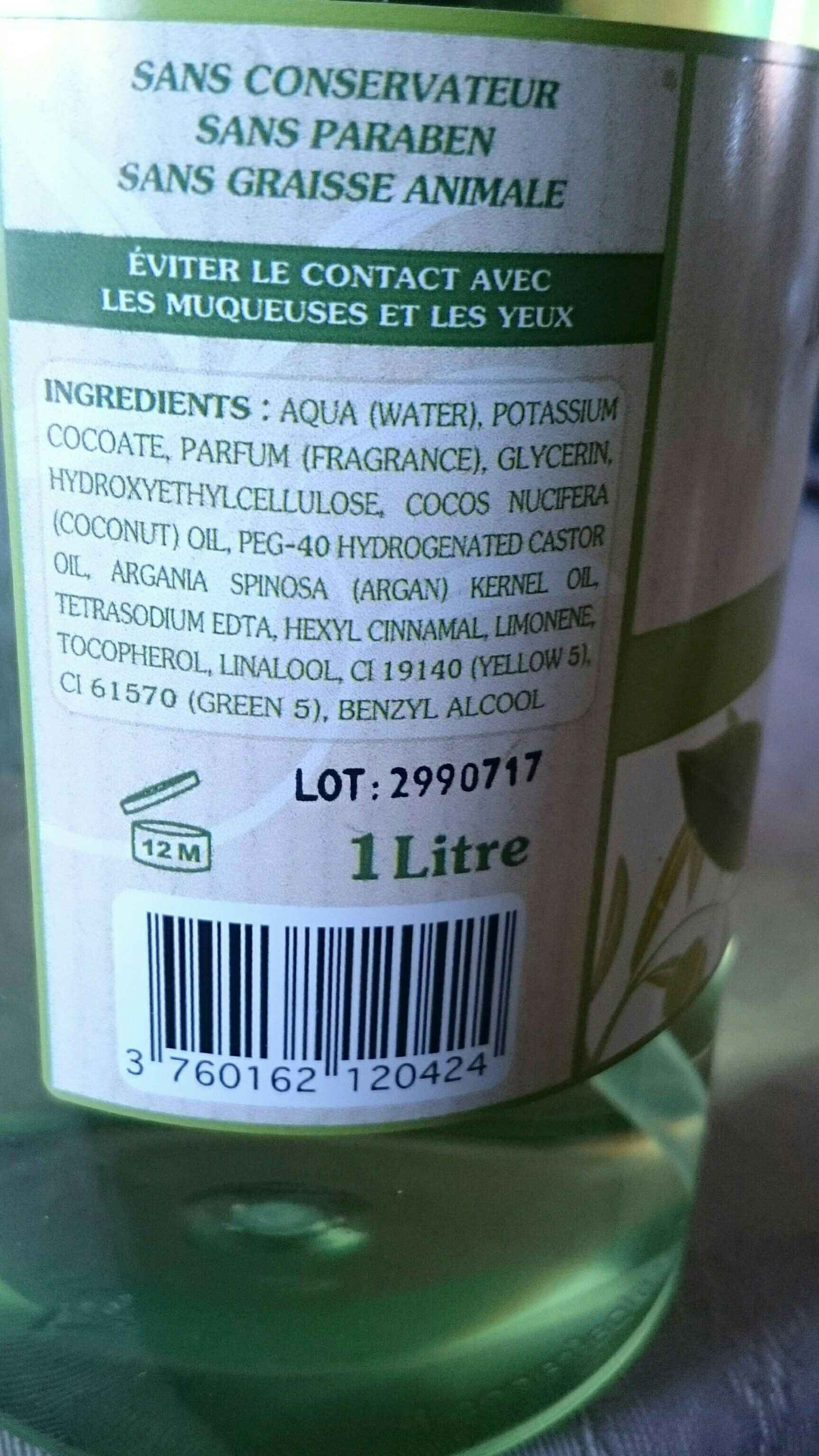 MKL Savon De Marseille the Vert 1 Litre - Ingredients