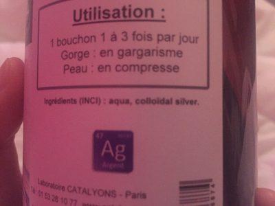 Argent Colloïdal 20PPM - 500ML - Catalyons Laboratoire - Ingredients - fr