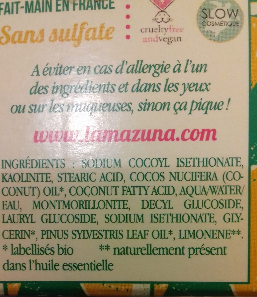 Shampoing solide - cheveux normaux - au pin sylvestre - Ingredients