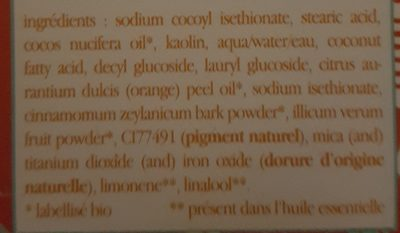 Shampooing Solide Orange Cannelle Badiane Série Limitée - Ingredients