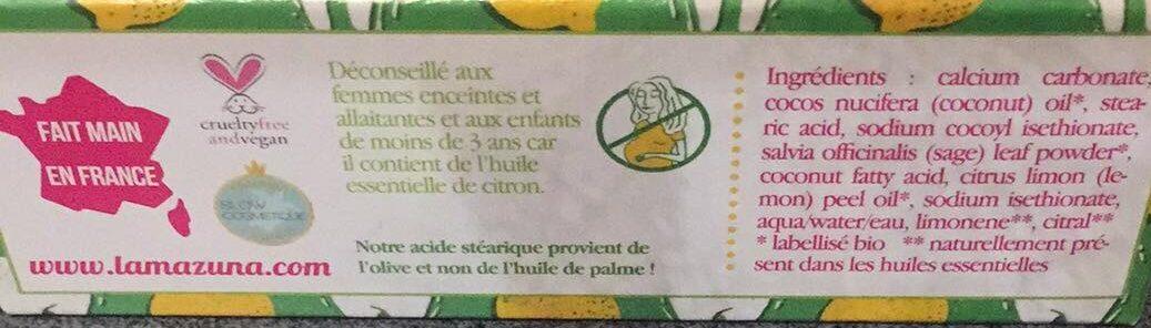 Dentifrice solide - Sauge - Citron - Ingredients