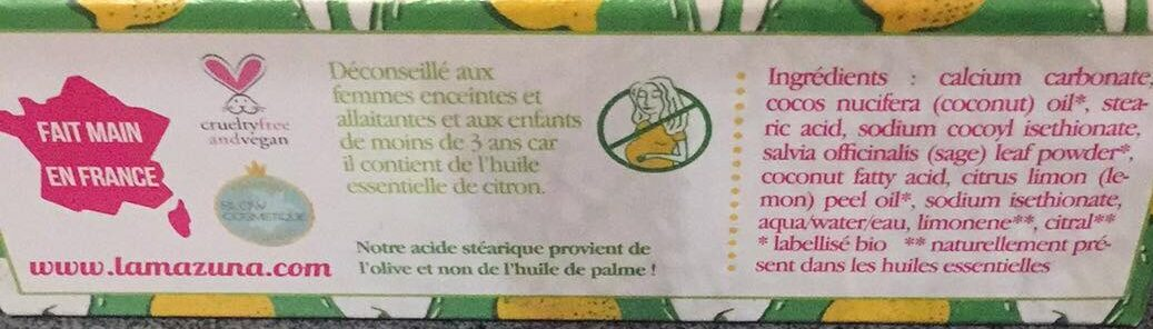 Dentifrice solide - Sauge - Citron - Ingredients - fr