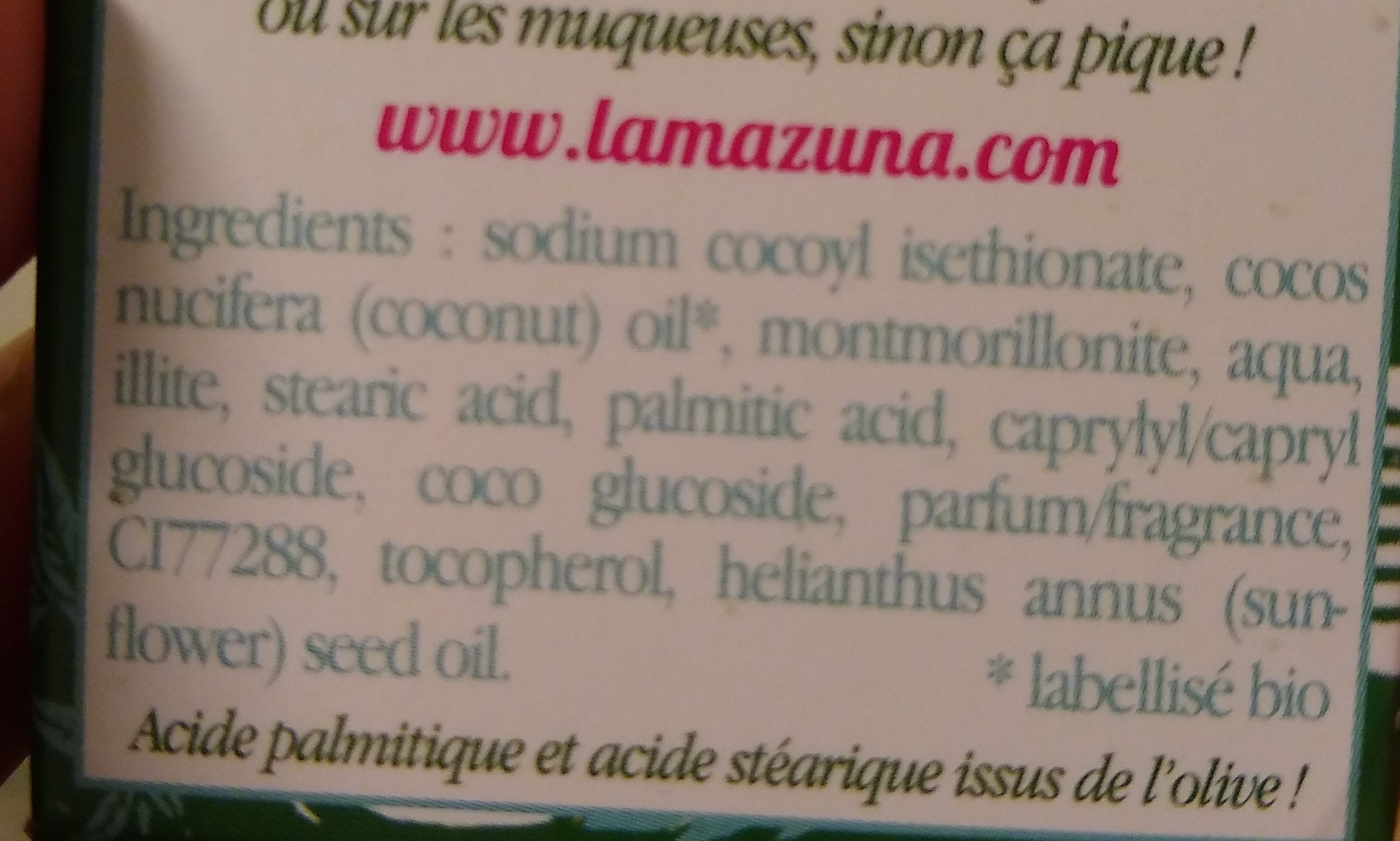 Shampoing solide - cheveux gras - au parfum d'herbes folles - Ingredients - fr
