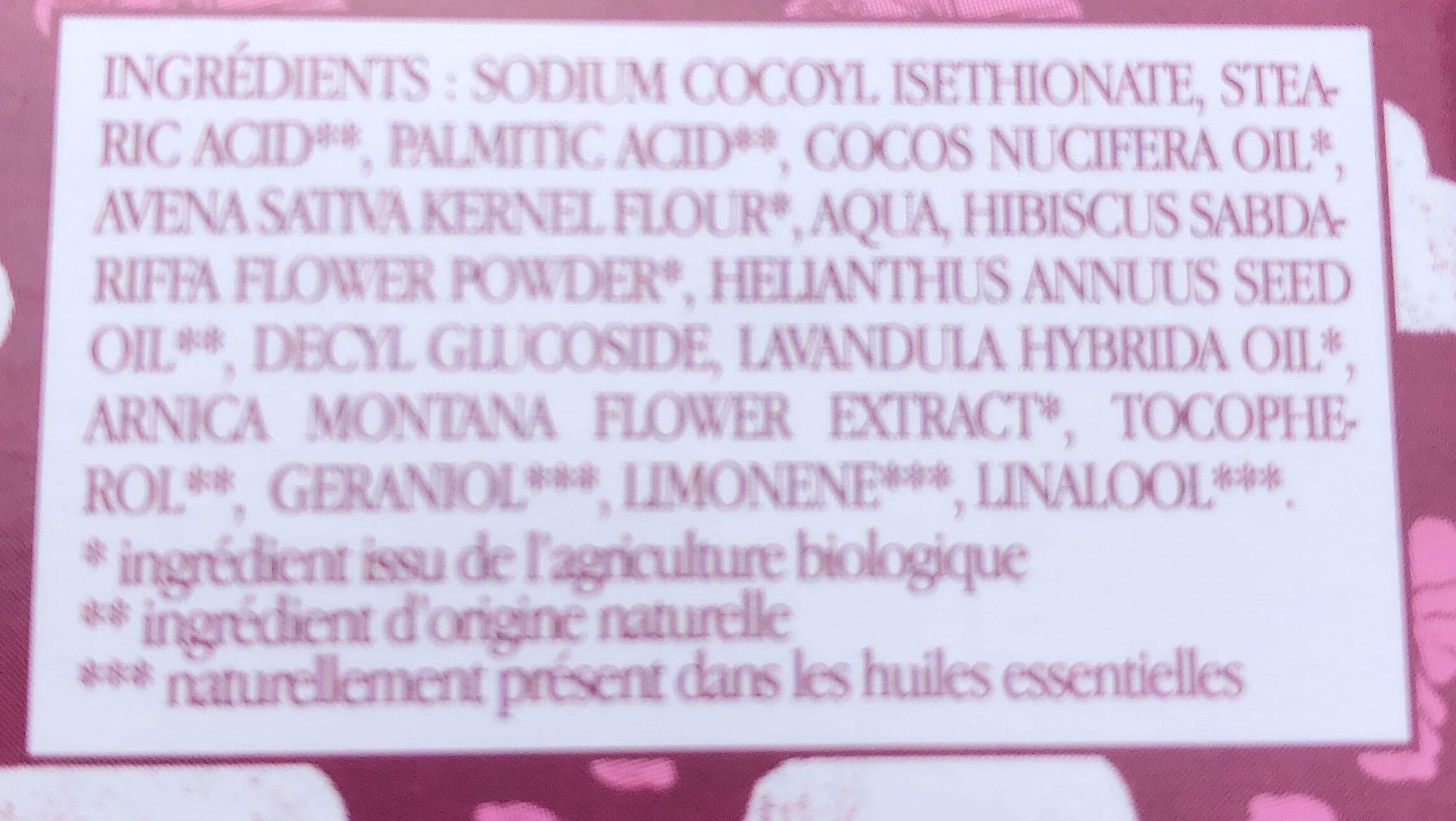 Nettoyant visage solide à l'hibiscus - Ingrédients