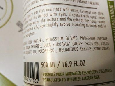 Savon noir bain douche à l'huile d'olive bio - Ingredients
