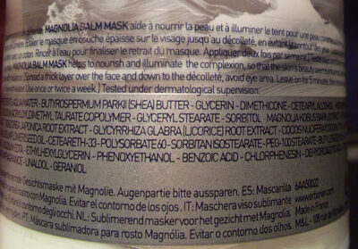 Masque visage sublimant au magnolia - Ingredients - fr
