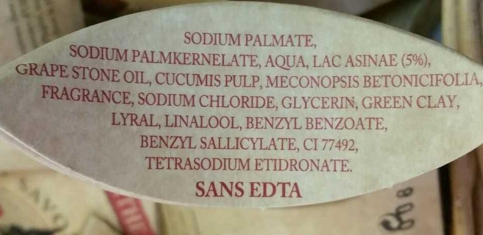 Savon végétal au lait d'ânesse Concombre - Ingrédients - fr