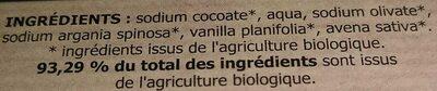 Savon artisanal du Val d'Argent à l'huile d'argan bio Vanille Avoine - Ingredients