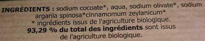 Savon artisanal du Val d'Argent à l'huile d'argan bio - Cannelle - Ingredients