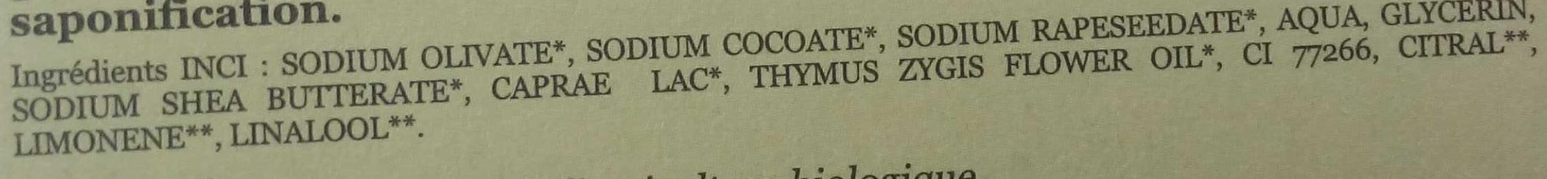 Milky Thym - Ingrédients - fr