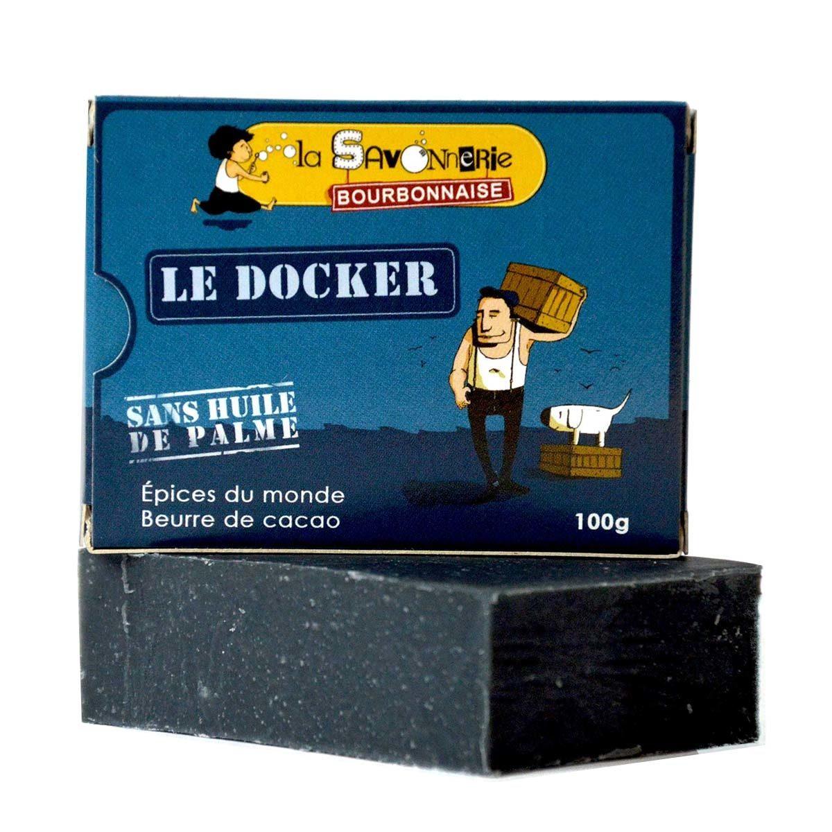 """Savon """"Le Docker"""" aux épices du monde, charbon et beurre de cacao 100% bio & vegan - Product"""
