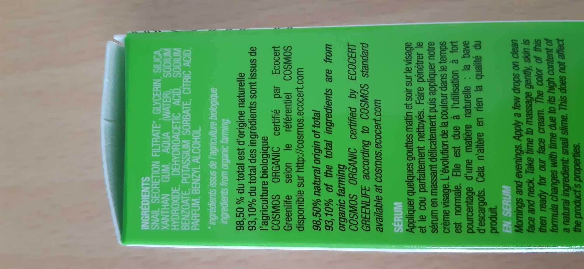 Sérum à la bave d'escargot pure et bio - Product - fr