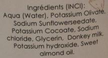 Savon de douche lait d'ânesse et huile d'amande douce - Ingrédients