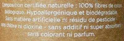 Tampons 100% coton biologique, hypoallergénique et biodégradable - Ingrédients - fr