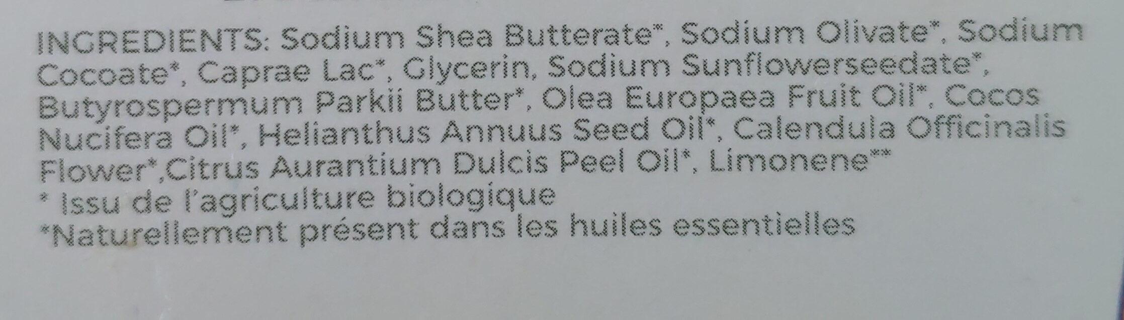 Savon aux petits soins - Calendula & Lait de chèvre - Ingrédients - fr