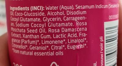 Welada wild rose shower cream - Ingredients - fr