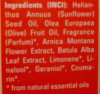 Arnica Massageolie - Ingredients