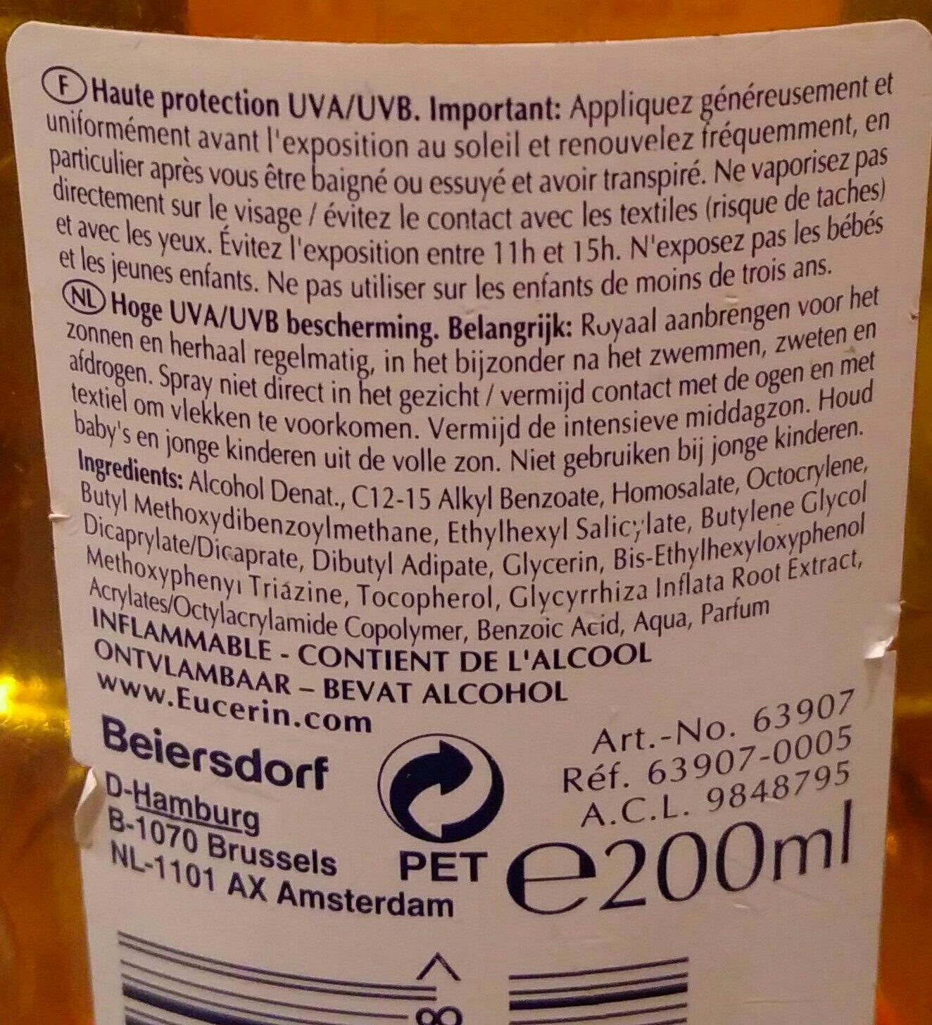 sun spray transparent - Ingredients