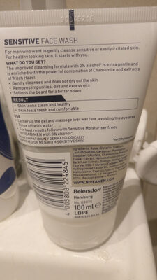Nivea Men Sensitive Face Wash - Ingredients