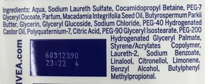 Douche soin crème surgras - Ingredients