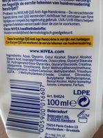 Soin anti-age Q10 plus mains sèches - Ingredients - fr