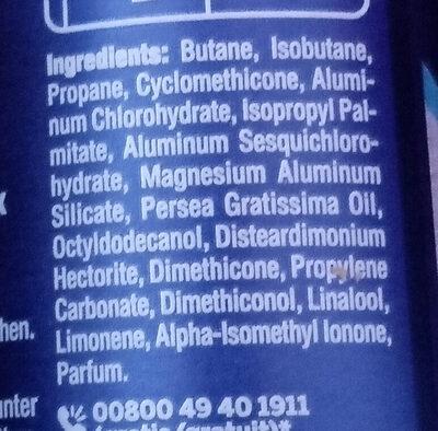 Dry Active Anti-Transpirant - Ingredients