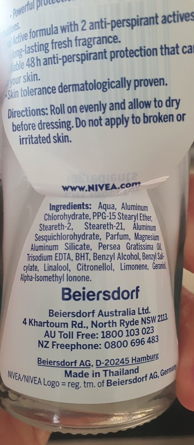 nivea deodorant - Ingredients - en
