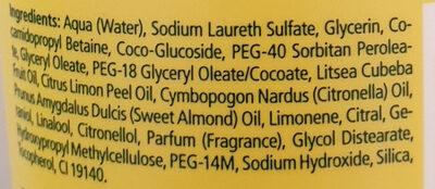 Aroma-Pflegedusche Lebensfreude, Litsea Cubeba, Zitrone - Ingredients