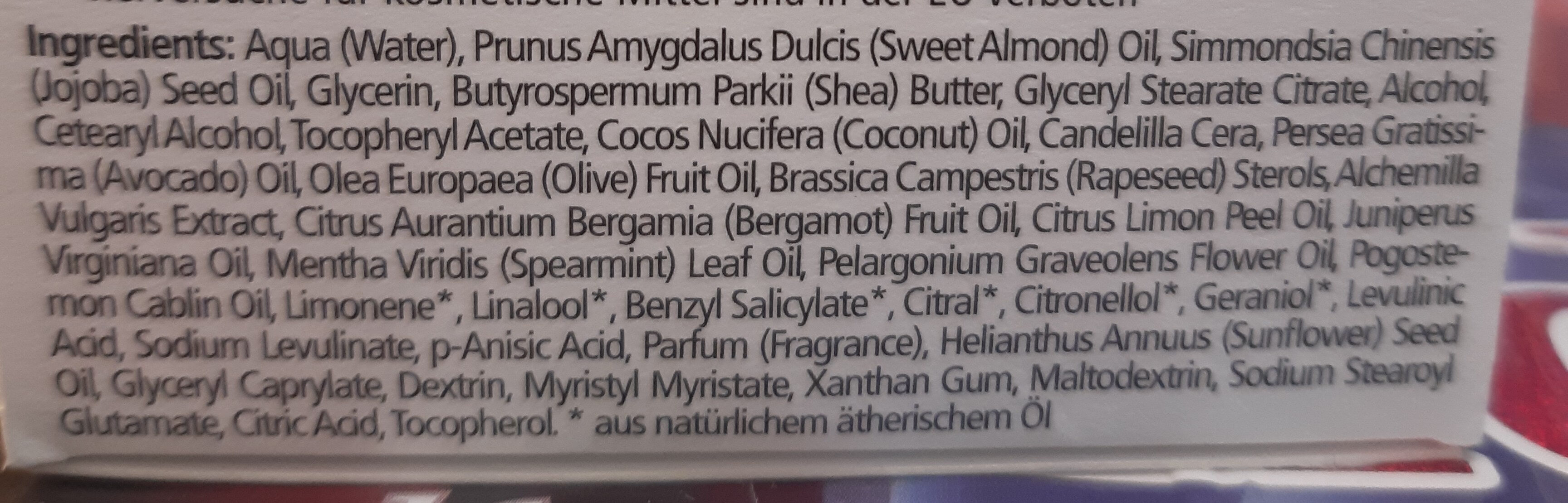 cosmétique naturelle - Ingredients