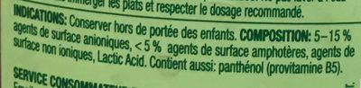Liquide vaisselle écologique dermosensitive et provitaminé - Ingredients - fr