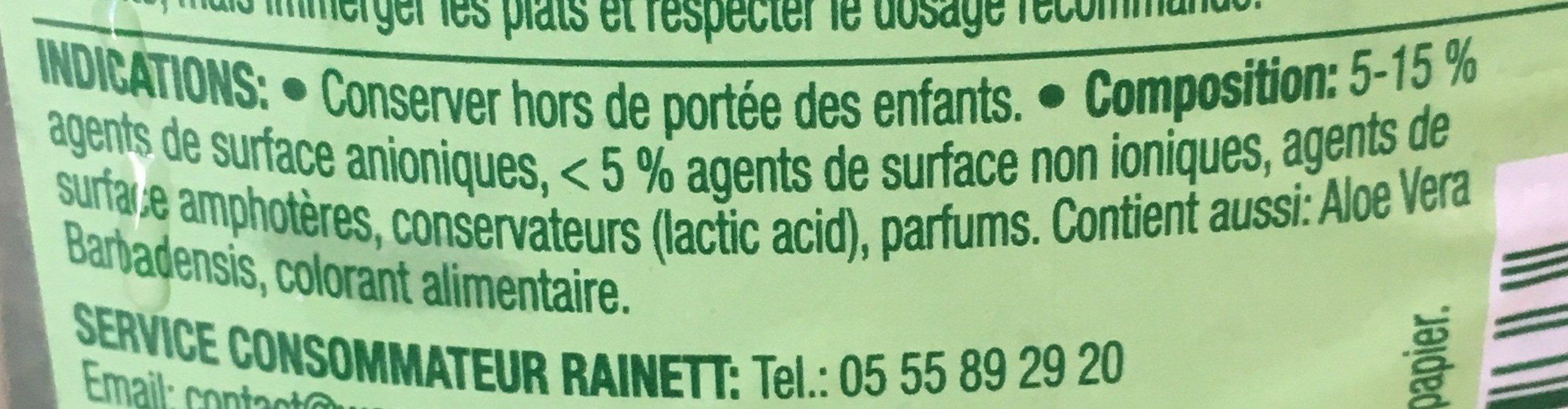 Liquide vaisselle aloé vera - Ingrédients - fr